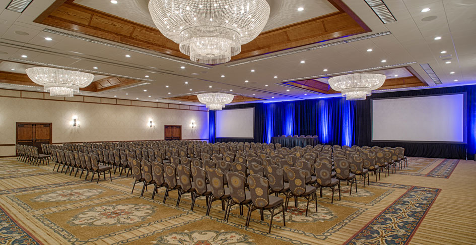 Meeting space set up for a conference